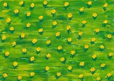 水彩油漆。 在绿色草甸的夏天花 免版税库存图片