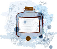 水彩瓶子向量例证 免版税库存图片