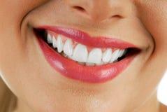 嘴微笑的妇女 库存照片