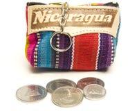 更换硬币关键尼加拉瓜钱包 免版税图库摄影