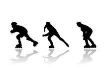 直排轮式溜冰鞋赛跑者剪影 库存照片