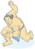 紧握拳头人他的摔跤手 免版税库存照片