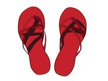 说明的红色凉鞋 免版税库存照片