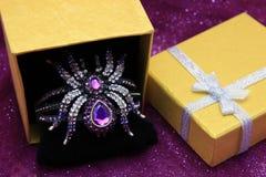 水晶珠宝蜘蛛 免版税库存图片