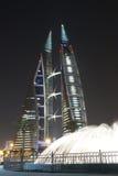 巴林中心晚上场面贸易世界 免版税图库摄影