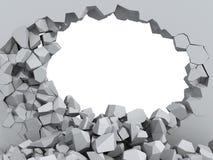 水泥粉碎的漏洞墙壁 库存图片