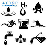 水涉及被设置的图标 免版税库存照片
