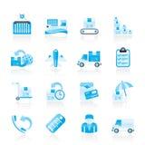 货物、发运和发运图标 免版税库存照片