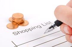 购物列表 免版税库存图片