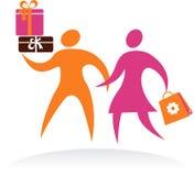 购物夫妇、向量图标和徽标 免版税库存图片