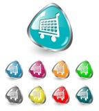 购物车图标集合购物向量 免版税库存图片