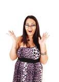 戴眼镜的惊奇的女孩。 免版税库存图片