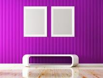 紫罗兰色墙壁颜色和白色框架装饰 免版税库存图片