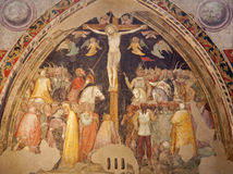 维罗纳-在十字架上钉死壁画在教会圣Fermo Maggiore里 图库摄影