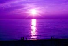 紫色日落 免版税库存图片