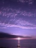 紫色日落 免版税库存照片