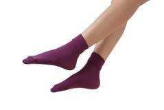 紫色袜子 库存图片