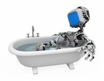 浴蓝色机器人屏幕 免版税库存图片