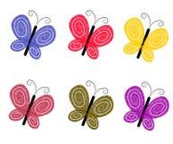 蝴蝶五颜六色织地不很细 库存图片