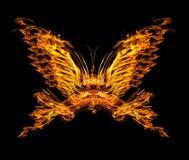 蝴蝶在黑色查出的形状火焰 库存照片
