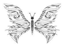 蝴蝶纹身花刺 库存图片