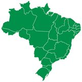 巴西映射 免版税库存照片