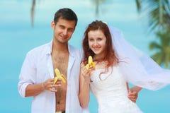 年轻人与在一个海滩的夫妇结婚在一个热带目的地 库存照片