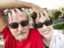 年轻的中部年迈的夫妇selfie 库存图片