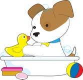 浴逗人喜爱的小狗 免版税库存图片