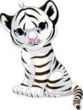 崽逗人喜爱的老虎白色 图库摄影