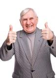 年长快乐的人纵向 免版税图库摄影