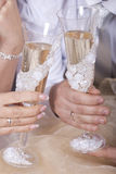 戴香槟眼镜的新娘和新郎  库存照片