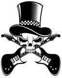 头骨和吉他 免版税库存照片