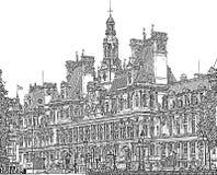 巴黎城镇厅  免版税库存照片