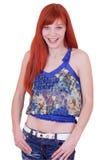 0个头发JPG夫人好的红色微笑的年轻人 库存照片