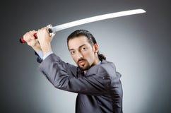 0 επιχειρηματίας με το ξίφος Στοκ φωτογραφία με δικαίωμα ελεύθερης χρήσης