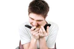 0 τηλεφωνικός έφηβος δύο Στοκ Εικόνες