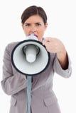 0 φωνάζοντας επιχειρηματίας με megaphone Στοκ φωτογραφία με δικαίωμα ελεύθερης χρήσης
