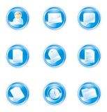 0 2 голубых иконы установило сеть Стоковое фото RF