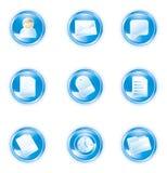 0 2 blåa symboler ställde in rengöringsduk Royaltyfri Foto