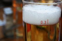 0,3 Liter of Beer. Fresh froth of beer close-up against warm background Royalty Free Stock Images
