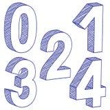 0 3d 4 чертежа номера Стоковое Изображение
