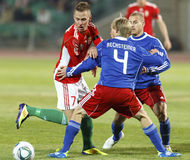 0 5 Венгрия Лихтенштейн против Стоковые Изображения RF