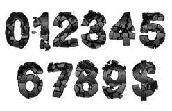 0-9 chiffres cassés de fonte Photo libre de droits