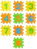 0 9 isolerade gjorda nummergummi till Arkivbilder
