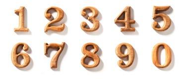 0 - 9 numéricos de madera Imágenes de archivo libres de regalías