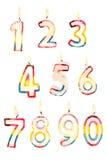0 9 stearinljus nummer till Royaltyfri Foto
