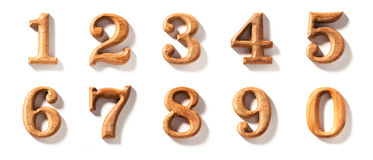 0 - 9 wooden numeric royalty free stock images