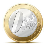 0 Euro coin. Zero euro coin, for a free item stock illustration