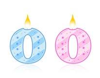 0 födelsedagstearinljus stock illustrationer